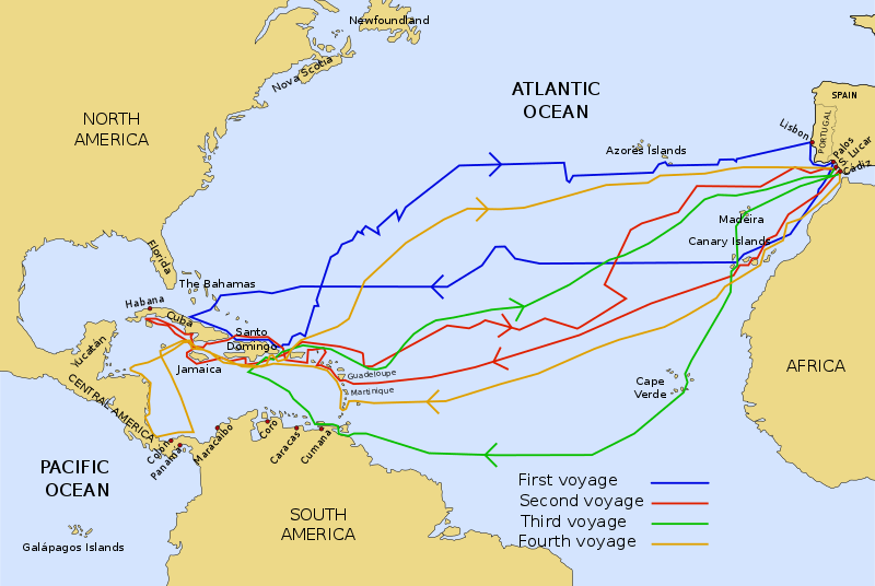Journey routes of Christopher Columbus